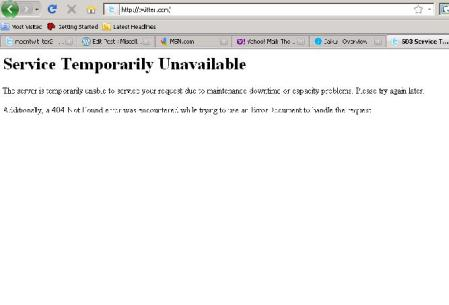 Twitter 404 Server Unavailable June 14, 2010